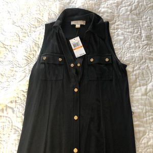 NWT MICHAEL KORS knit black maxi shirt dress